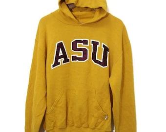Vintage ASU Yellow Hoodies Arizona States University Pull Over Medium Size