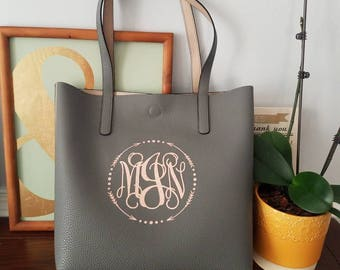 Monogrammed faux leather reversible tote. Personalized tote bag. **NEW** ROSE GOLD vinyl color now available.