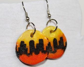 Handmade & Painted Skyline Earrings