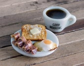 Dollhouse Miniature Breakfast Egg, Bacon, Toast and Cup of Coffee