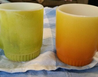 Anchor Hocking Fire King Mugs Lot of 2 Stacking Ribbed base,  Orange Yellow & Green ombre mugs. Cups, coffee, cocoa, tea