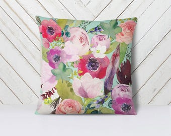 Floral throw pillow cover