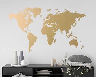 dfb79da2b46 Gold World Map Wall Art Sticker