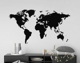 World Map Wall Sticker, Modern Room Decor, Removable Vinyl Decal