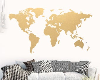World map wall mural etsy world map gold modern wall art vinyl wall sticker apartment decor world gumiabroncs Image collections