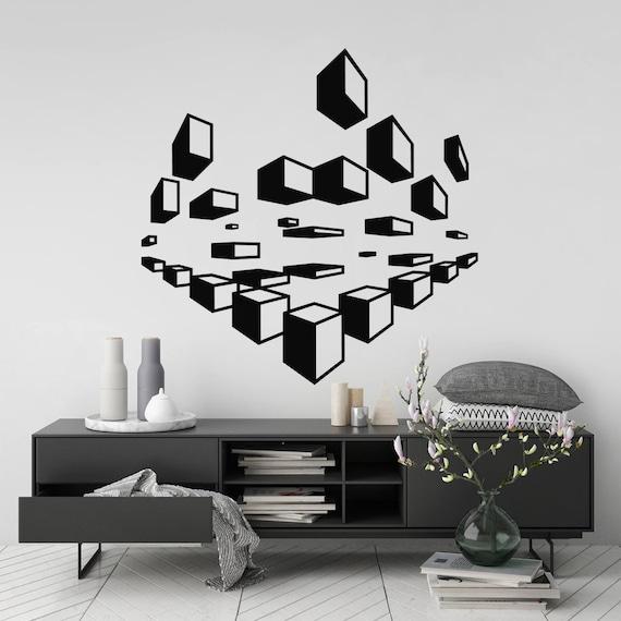 Abstract Wall Art Sticker Modern Geometric Room Decor Etsy