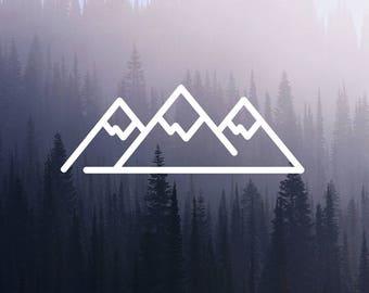 Mountain Vinyl Sticker, Minimalist Adventure Decal