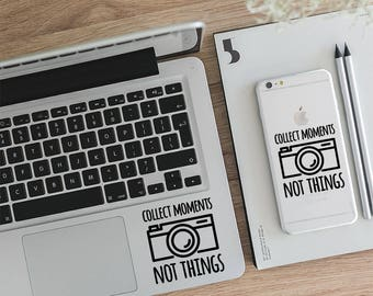 Photography, Laptop Stickers, Collect Moments Not Things, Motivation Decal, Sticker For Mac, Wall Decal, Quote Decal, Vinyl Decal