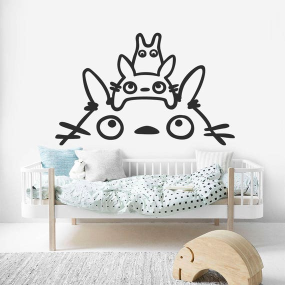 totoro kids decal totoro over bed sticker totoro wall decal | etsy