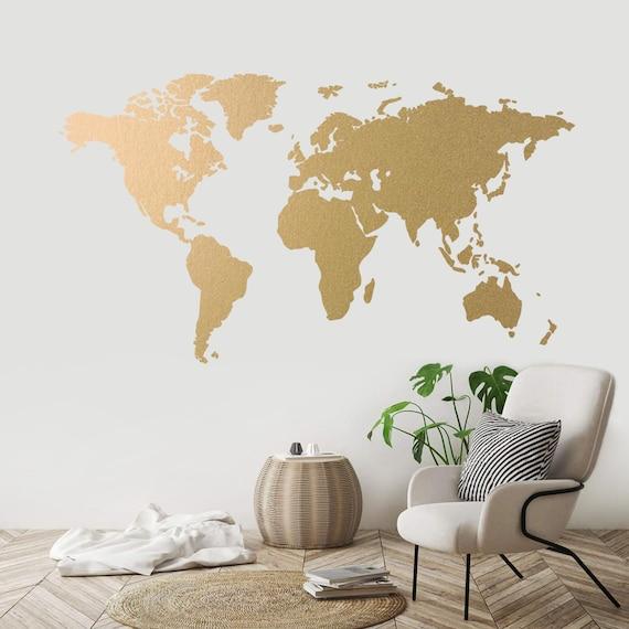world map gold modern wall art vinyl wall sticker apartment | etsy
