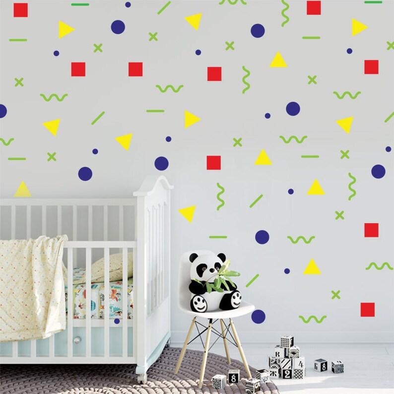 kids wall art geometric wall decal mixed shape stickers | etsy
