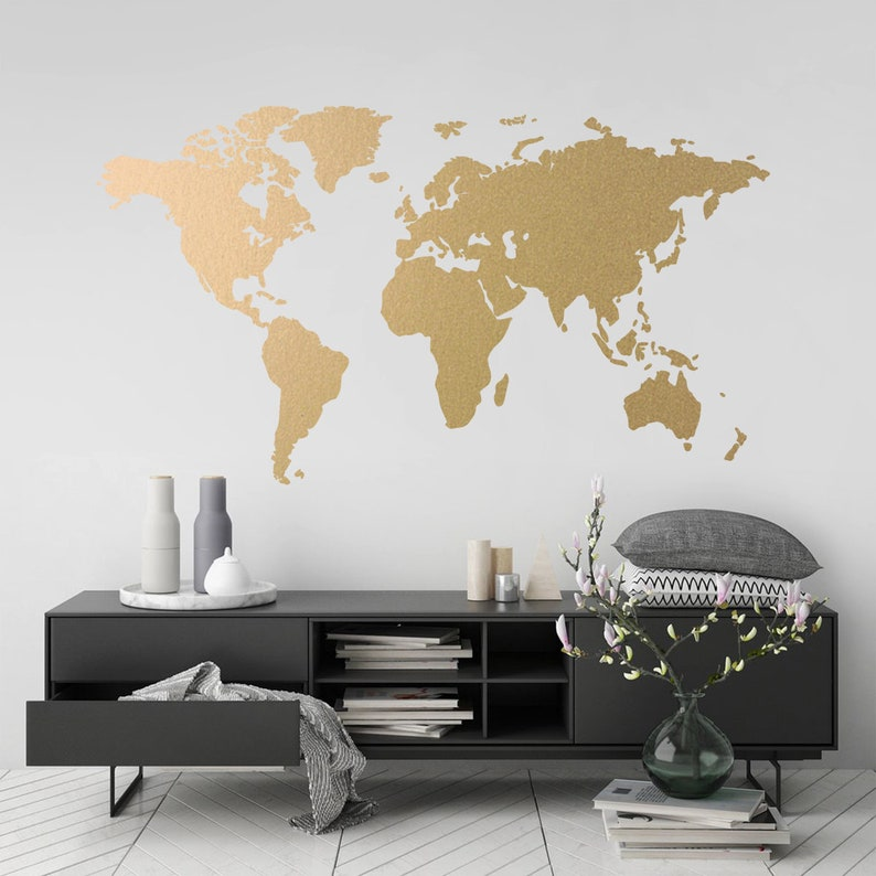 Wall Sticker World Map.World Map Gold Modern Wall Art Vinyl Wall Sticker Apartment Etsy