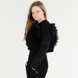 Extravagant Sweater with Plisse  Oversized Black And White Sweater  Elegant SweaterOversized Ruffle SweatshirtRuffle TopPlus Sizes