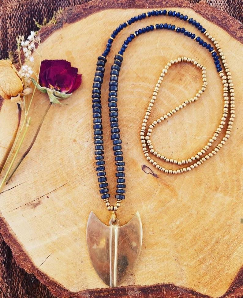 ethnic pendant Big tribal brass necklace viking pendant