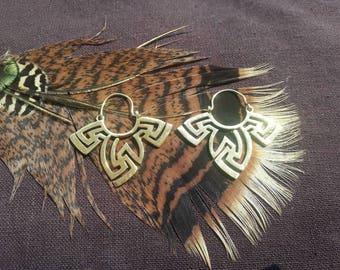 Geometric brass earrings, tribal earrings, boho earrings, bohemian earrings, gypsy earrings, psy earrings, tribal,