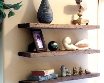floating shelf etsy rh etsy com real wood wall shelf Lowe's Wood Shelves