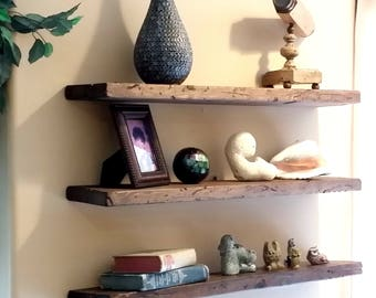 Easy Mount Reclaimed Wood Shelves Floating Shelf Rustic Reused Solid Wall Decor Shelving