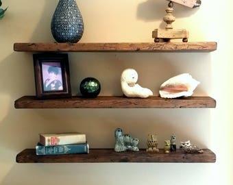 floating shelves etsy rh etsy com reclaimed wood floating wall shelves cherry wood floating wall shelves