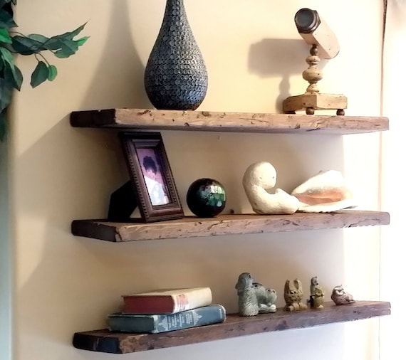 easy mount reclaimed wood shelves floating shelves floating etsy rh etsy com floating wood wall shelves solid wood floating wall shelves