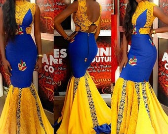 Yellowish Gold African Prom Dresses