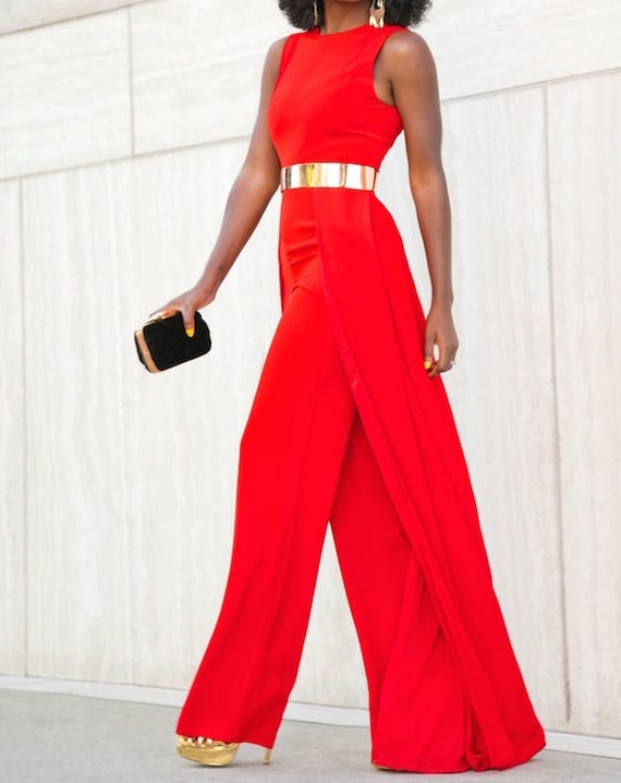 Red Jumpsuit With Cape African Jumpsuit With Cape Wedding Etsy