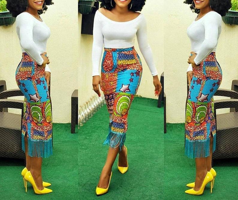 f0a61e78a7 African midi skirt / Ankara Fringe Skirt / Ankara Skirt / | Etsy
