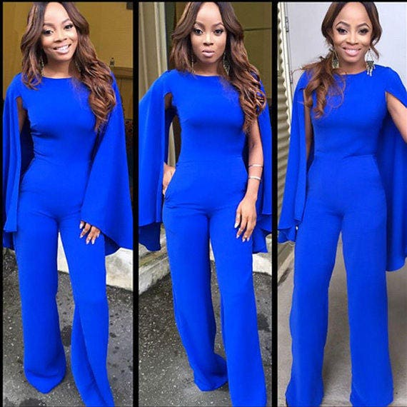 Blue Jumpsuit With Cape Sleeves African Jumpsuit With Cape Etsy
