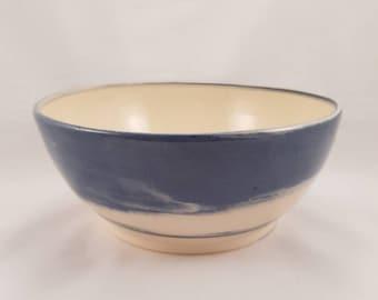 Hand Made Medium Blue and White Swirl Bowl