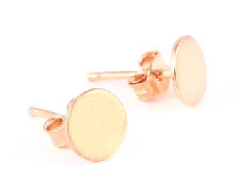 92.5 sterling silver rose gold plated earring (round shape earring)