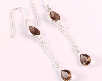 Smoky quartaz 92.5 sterling silver earring