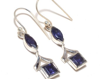 Iolite 92.5 sterling silver earring