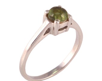 Green tourmaline 92.5 sterling silver ring size 6 us