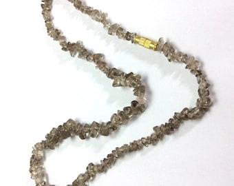 Natural uncut smoky quartz beads necklace 17 inch