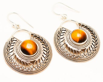 Tiger eye 92.5 sterling silver earring