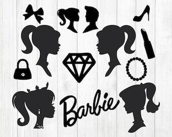 image regarding Free Printable Barbie Silhouette named Barbie silhouette Etsy
