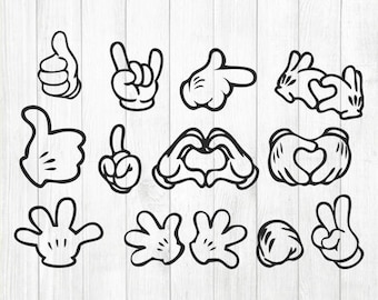 INSTANT DOWNLOAD - Mickey Hands Svg, Minnie Hands Svg, Disney Inspired Character, Mickey Mouse Hands Clipart, Mickey Mouse Svg, Mickey Svg