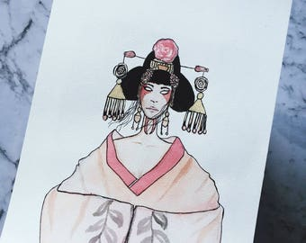 Abrianna - Asian Inspired Watercolor Print