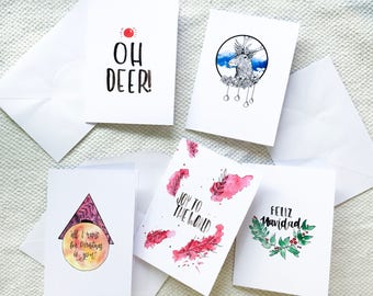 Watercolour Christmas Cards - Individual or Pack of 5 - A6