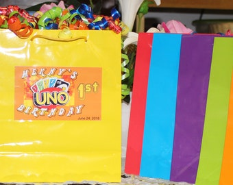 12 Personalized UNO Birthday Favor Bags - UNO Party Treat Goody Bags Loot Favors - UNO Birthday Theme