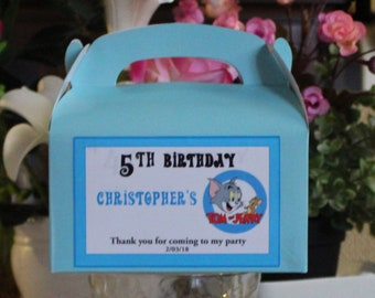 12 Personalized  Birthday Favor Box -Tom and Jerry Party Treat Goody Box Loot Favors -Tom and Jerry Birthday Theme-Tom and Jerry  party