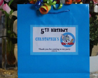 12 Personalized  Birthday Favor Bags -Tom and Jerry Party Treat Goody Bags Loot Favors -Tom and Jerry Birthday Theme-Tom and Jerry  party