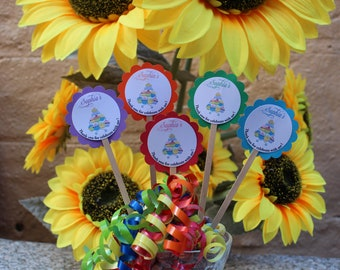 Personalized  Birthday Cupcake Toppers, Set of 12
