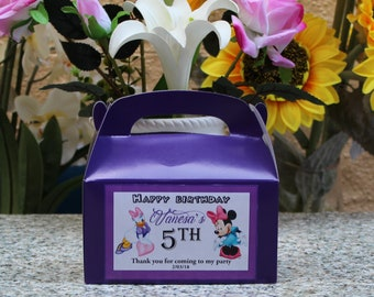 12 Personalized Minne and Daisy Favor Box -Minne and Daisy Party Treat Goody Box  Favors - Minne and DaisyBirthday Theme