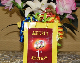 12 Personalized UNO Birthday Favor Box - UNO Party Treat Goody Box Loot Favors - UNO Birthday Theme