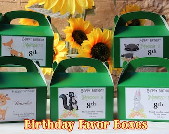 12 Personalized Animals Birthday Favor Box -Woodland Animals Party Treat Goody Box Loot Favors - Animals Birthday Theme