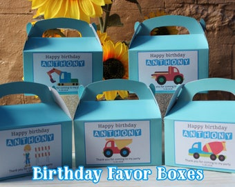 12 Personalized  Birthday Favor Box -Vehicles Party Treat Goody Box Loot Favors -Vehicles Birthday Theme-Vehicles birthday party