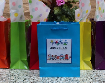 Personalized Train Small  Favor Bags - Set of 12-Train small bags theme.