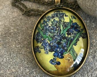 Van Gogh Pendant, Van Gogh Necklace, Pendant, Necklace, Van Gogh, Vincent Van Gogh, Art Pendant, Van Gogh Art, Van Gogh Painting, Irises