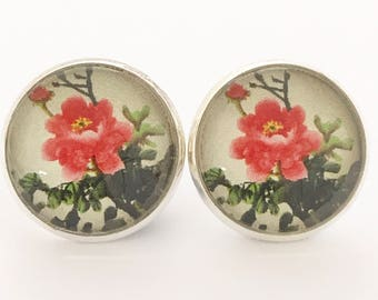 Floral Earrings, Red Floral Earrings, Red, Floral, Flower, Earrings, Studs, Posts, Silver Studs, Silver Posts, Vintage Style, Cherry Blossom