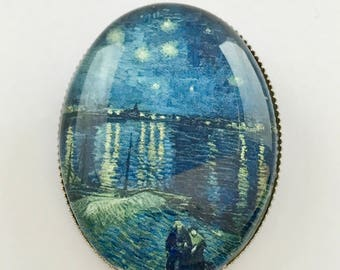 Starry Night Over the Rhone, Van Gogh, Vincent Van Gogh, Art, Starry Night Rhone, Starry Night Jewelry, Starry Night Jewellery, Brooch, Pin